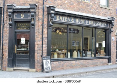 TELFORD, UK - MARCH 5, 2016: Blists Hill open air museum, showing life 100 years ago in a Victorian town, Telford, Shropshire, UK