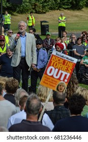 TELFORD, UNITED KINGDOM - JULY 20: Hundreds of people gather to see Jeremy Corbyn at a Labour party rally in Shropshire on July 20, 2017.