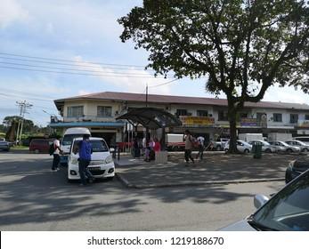 TELIPOK,SABAH,MALAYSIA-November 2, 2018 : Street scene/view of Telipok shop, street and traffic.