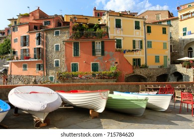 Tellaro, Italy, -  August 20, 2017: Tellaro is an old small characteristic village in the Gulf of La Spezia in Italy.