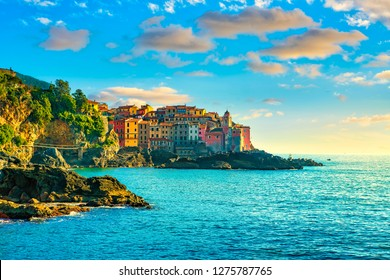 Tellaro village and rocks on the sea. Church and houses. Five lands, Cinque Terre, Liguria Italy Europe.