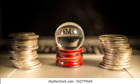 Teller crystal ball surround by coin, predict the future, forecast the future. Financial analysis, Financial advisor.  financier