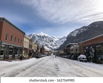 Telluride, Colorado - January 10, 2020: Telluride main street view of town in Telluride, Colorado