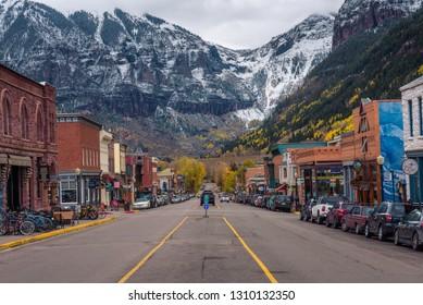 Telluride, Colorado - October 14, 2018 : Colorado Avenue in Telluride facing the San Joan Mountains. Telluride is a historic mining town and popular ski resort.