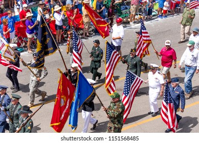 TELLURIDE, COLORADO, USA - July 4, 2018 - Annual  Independence Day Parade, Telluride, Colorado features veterans marching down Colorado Avenue to start parade