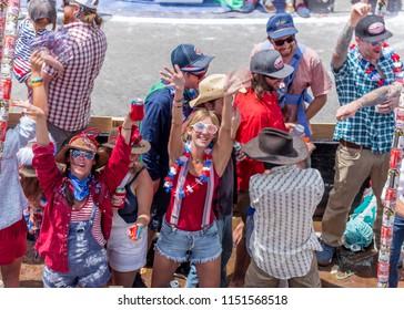 TELLURIDE, COLORADO, USA - July 4, 2018 - Annual  Independence Day Parade, Telluride, Colorado Colorado Avenue