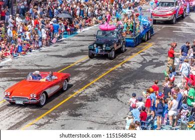 TELLURIDE, COLORADO, USA - July 4, 2018 - Annual  Independence Day Parade, Telluride, Colorado Colorado Avenue - features 1958 Corvette