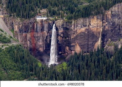 Telluride in Colorado's San Juan Mountains, summer - Bridal Veil Falls is the tallest free-flowing waterfall in the state.