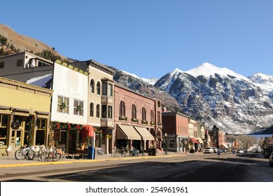 TELLURIDE - December 10: Downtown Telluride is lit by the sun on December 10, 2011 in Telluride, Colorado, USA.