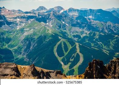 Telluride ski resort trails seen from Mount Sneffels Summit a 14er in summer August Mountain landscape epic Rocky Mountain View