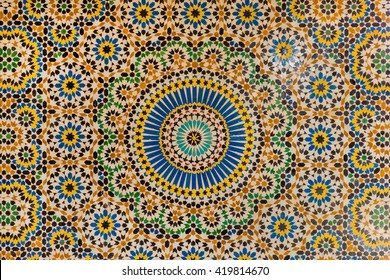 TELOUET, MOROCCO - OCTOBER 22, 2015:  Beautiful and intricate mosaic work in the Kasbah of Glaoui in Telouet, Morocco.
