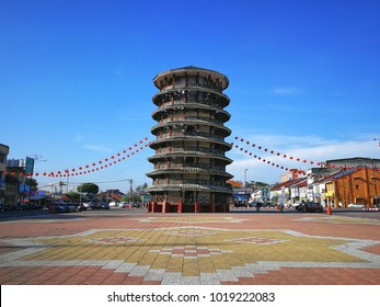Teluk Intan, Perak - February 4th 2018 : The Leaning Tower of Teluk Intan is a clock tower in Teluk Intan Perak, Malaysia. It's the Malaysian equivalent of the world-famous Leaning Tower of Pisa Italy