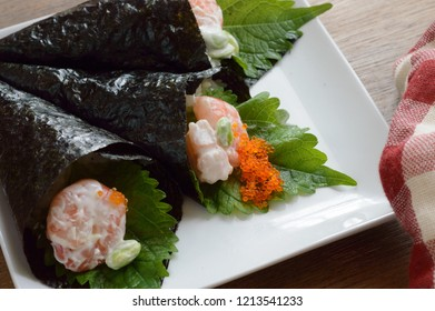 Temaki Sushi  is an easy hand-rolled sushi that you can fill with your favorite ingredients. It is a casual menu commonly served in Japan in parties and gatherings.