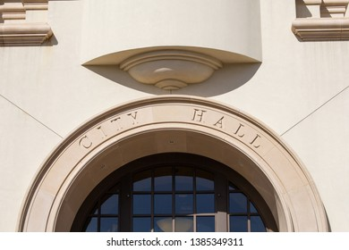 Temecula, California/United States - 04/08/2019: A closeup of the city hall engraved sign at the Temecula downtown building