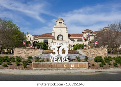 Temecula, California/United States - 04/08/2019: The front view of Temecula City Hall featuring a sign celebrating 30 years history