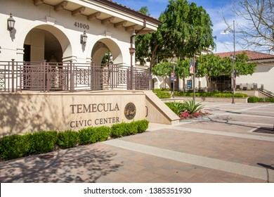 Temecula, California/United States - 04/08/2019: Front entrance sign for Temecula Civic Center