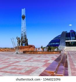 Temirtau, Karaganda/Kazakhstan - September 06, 2017: Monument of Metallurgists in Historical and cultural center park area of First President Nazarbayev with Monument of Metallurgists.