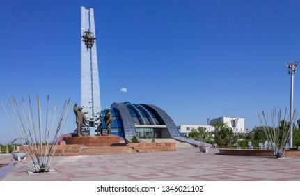 Temirtau, Karaganda/Kazakhstan - September 06, 2017: Historical and cultural center park of First President Nursultan Nazarbayev with Monument of Metallurgists.