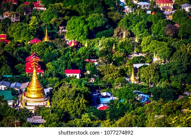 Temmples in the jungel from Mandale hill,Mandalay in Myanmar