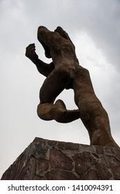 Temoaya, Mexico State,Toluca / Mexico -Sep 08 2018  sculpture of a warrior of the Botzanga Otomi who fought against the Aztec emperor Axayacatl, Otomi ceremonial center Mexico
