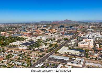 Tempe, Arizona skyline viewed from the southeast to the northwest from above under clear blue sunny skies