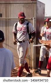 TEMPE, ARIZONA / USA - APRIL 17 2005: Stanford Cardinals outfielder #25 John Mayberry, Jr. and pitcher #21 Mark Romanczuk head to the locker room at ASU Sun Devils Bobby Winkler Field.