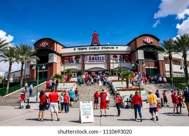 TEMPE, ARIZONA/USA - March 13, 2018: Fans arrive at Tempe Diablo Stadium for a spring training baseball game between the Los Angeles Angels of Anaheim and the Texas Rangers.