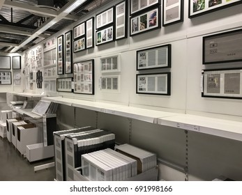 TEMPE, AZ - JANUARY 12: Wall art and picture frame section at IKEA on January 12, 2017 in Tempe, AZ.