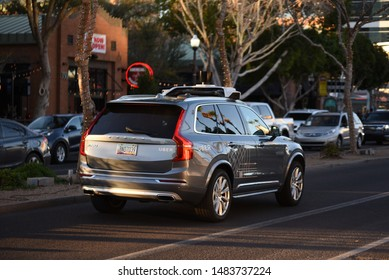 Tempe AZ/ USA 02/17/2018 Uber  self driving car Down mill ave autopilot Volvo Smart Car