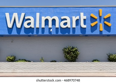 Tempe, AZ, USA - August 06, 2016: Walmart sign in Tempe, USA. Walmart, is an American multinational retail corporation headquartered in Bentonville, Arkansas.