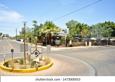 TEMPE, AZ / USA - July 7 2011: Traffic circle in a residential neighborhood at the intersection of W 9th St and Ash Ave opposite Casey Moore's Oyster House restaurant and bar.