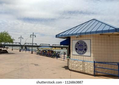 TEMPE, AZ, USA - MAY 21 2018:  Boat and bicycle rental near Mill Avenue bridges at Sail River Lake, Tempe, AZ