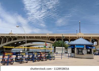 TEMPE, AZ, USA - MAY 21 2018:  Bicycle and boat rental near Mill Avenue bridges at Sail River Lake, Tempe, AZ