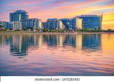 Tempe, AZ/USA - 08/04/2019: Tempe Town Lake Glistening at Sunset