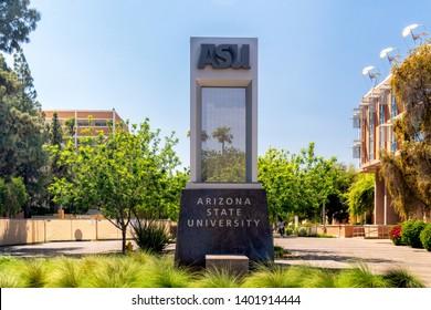 TEMPE, AZ/USA - APRIL 10, 2019: Entrance sign to the campus of Arizona State University.
