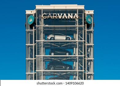 TEMPE, AZ/USA - APRIL 10, 2019: Carvana automobile dealership vending machine. Carvana is an online-only used car dealer.