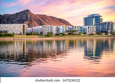 Tempe Town Lake Glistening at Sunset