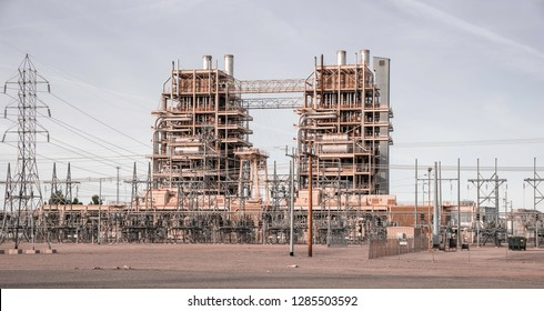 Tempe,Az/USA -12.14.16: Ocotillo Power Plant, Tempe Az, Owned by APS, the natural gas-fueled Ocotillo Power Plant has two steam and two combustion turbine units capable of generating 340 megawatts.