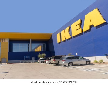 Tempe,AZ/USA - 9.25.18: Ikea is a Swedish-founded multinational group founded in 1943 by then-17-year-old Ingvar Kamprad.  Ikea designs and sells ready-to-assemble furniture and accessories.