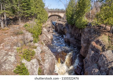 Temperance River flowing through Temperance State Park to Lake Superior in Minnesota.