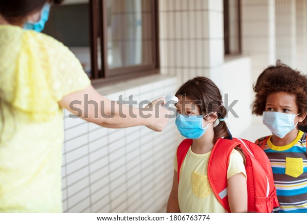 Temperature  and medical check at school  for covid-19