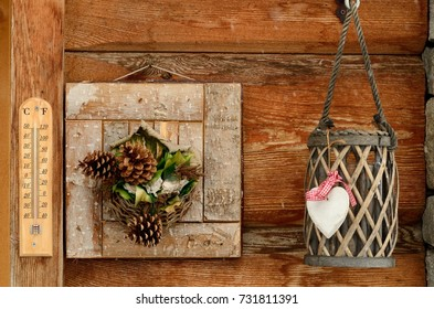 temperature meter and pine cones near a basket
