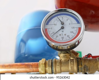 Temperature and pressure gauge mounted on boiler pipes