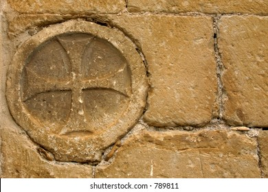 Templar cross in Uncastillo church, Zaragoza, Aragon, Spain