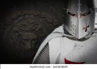 Templar frontal faceguard,  crusade knight in wintery forest for a educational reenactment project