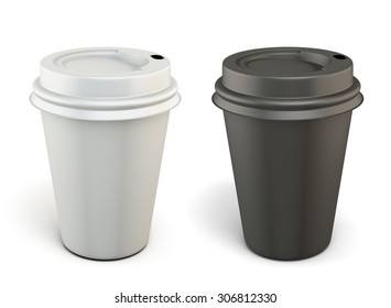 Template black and white plastic cups for coffee isolated on white background. 3d.