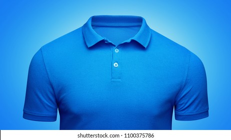 Template blue Polo shirt concept closeup front view. Polo T-shirt mockup with empty space on collar for your brand.