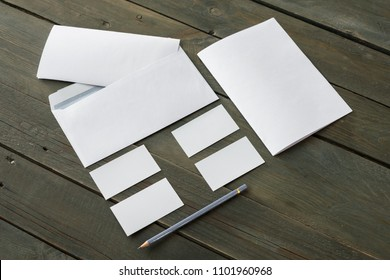 Template for branding identity. For graphic designers presentations and portfolios, mock-up, isolated on wooden background.