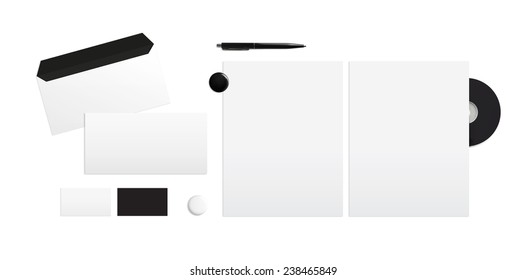Template for branding identity on a white background. Top view.
