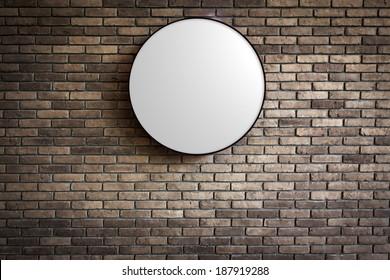 Template - Circle Light box logo on the dark red brick wall
